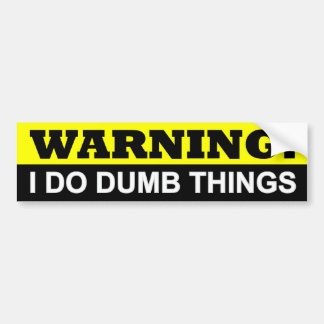 WARNING I DO DUMB THINGS BUMPER STICKER