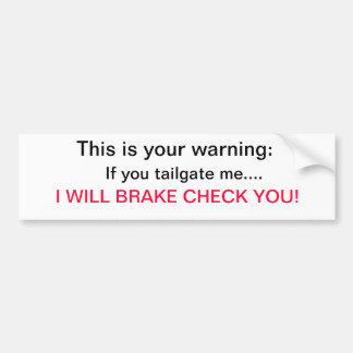 Warning...I will break check you Bumper Sticker