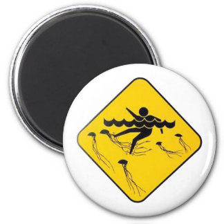 Warning Jellyfish in Water-Street sign 6 Cm Round Magnet