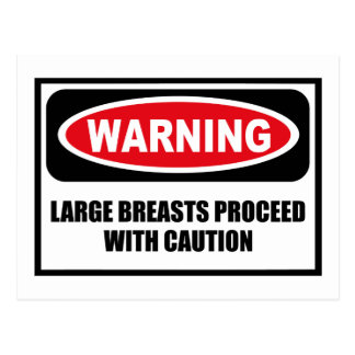 Warning LARGE BREASTS PROCEED WITH CAUTION Postcar Postcard