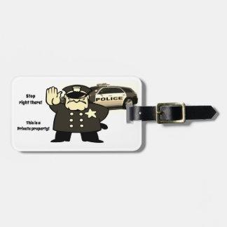 Warning Luggage Tag w/ leather strap
