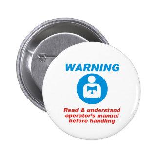 Warning Manual 6 Cm Round Badge