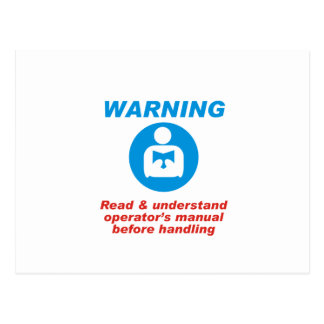 Warning Manual Postcard