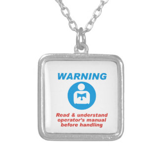 Warning Manual Silver Plated Necklace