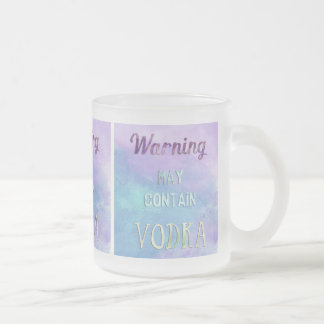 Warning May Contain Vodka Watercolor Frosted Glass Mug