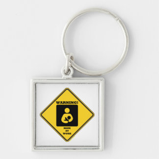 Warning! Mom At Work (Yellow Diamond Sign) Silver-Colored Square Key Ring