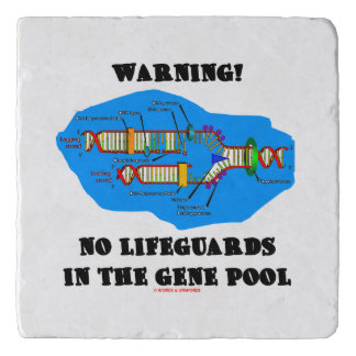 Warning! No Lifeguards In The Gene Pool DNA Humor Trivet