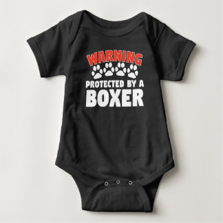Warning Protected By A Boxer Baby Bodysuit
