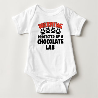 Warning Protected By A Chocolate Lab Baby Bodysuit