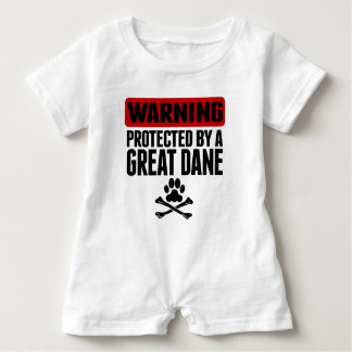 Warning Protected By A Great Dane Baby Bodysuit