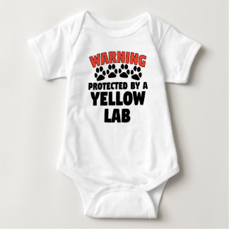 Warning Protected By A Yellow Lab Baby Bodysuit