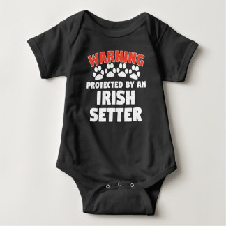 Warning Protected By An Irish Setter Baby Bodysuit