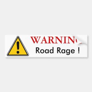 WARNING Road Rage Bumpersticker Bumper Sticker
