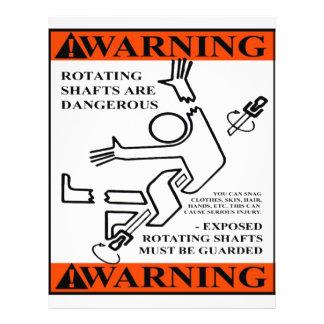 WARNING! ROTATING SHAFTS ARE DANGEROUS 21.5 CM X 28 CM FLYER