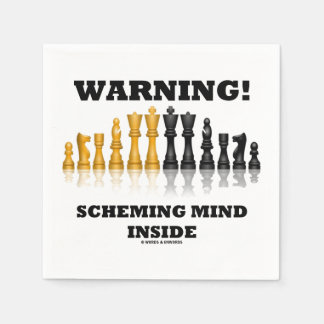Warning! Scheming Mind Inside Chess Humor Disposable Napkins
