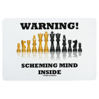 Warning! Scheming Mind Inside Chess Humor Floor Mat