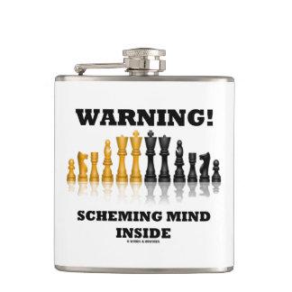 Warning! Scheming Mind Inside Chess Humor Hip Flask