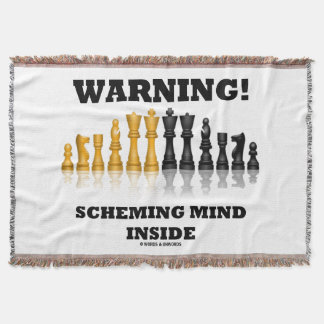 Warning! Scheming Mind Inside Chess Humor Throw Blanket