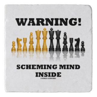 Warning! Scheming Mind Inside Chess Humor Trivet