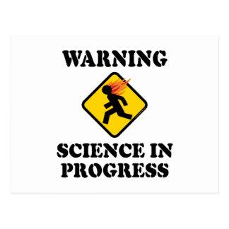 Warning Science In Progress Post Cards