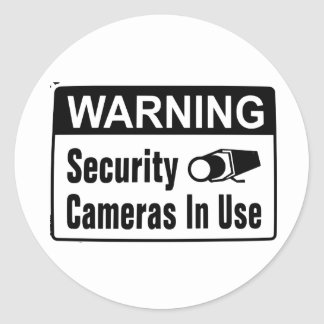 Warning Security Camera In Use Stickers Round Sticker