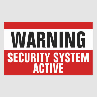 Warning Security System Active Stickers
