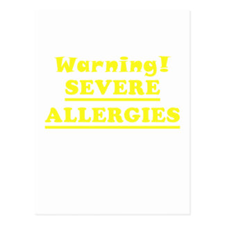 Warning Severe Allergies Postcard