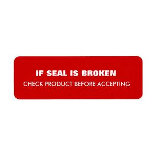 Warning  Shipping Return Address Label