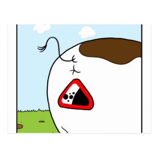 Warning Sign - Falling Cowpat Postcard
