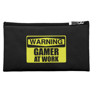 Warning Sign Gamer At Work Funny Cosmetic Bag