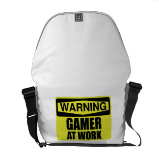 Warning Sign Gamer At Work Funny Courier Bag
