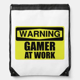 Warning Sign Gamer At Work Funny Drawstring Bag
