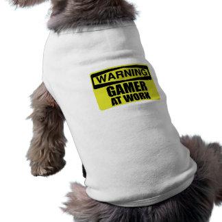Warning Sign Gamer At Work Funny Shirt