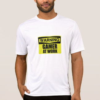 Warning Sign Gamer At Work Funny T-Shirt