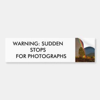 WARNING: SUDDEN STOPS FOR PHOTOGRAPHS BUMPER STICKER