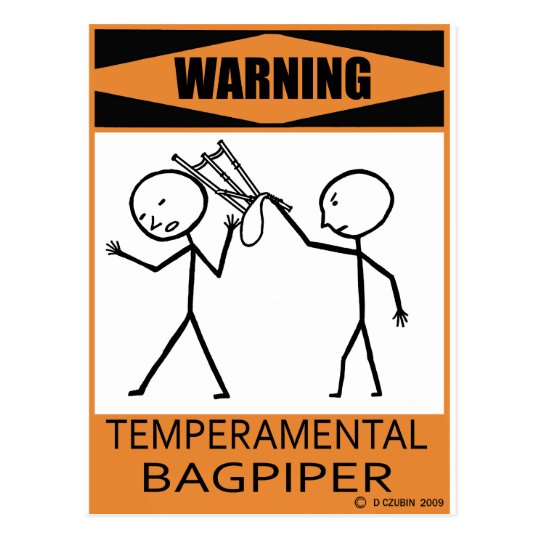 Warning Temperamental Bagpiper Postcard