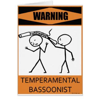 Warning Temperamental Bassoonist Card