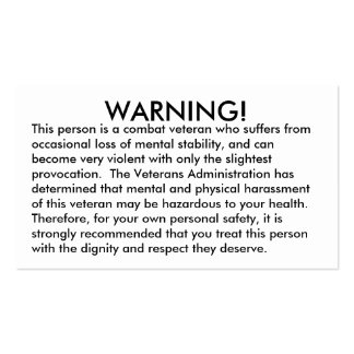WARNING!, This person is a combat veteran who s... Pack Of Standard Business Cards