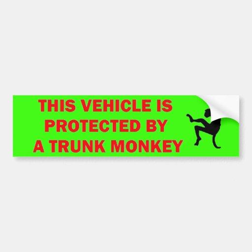 Warning Trunk Monkey Inside Bumper Sticker