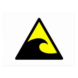 Warning Tsunami Wave Sign Postcard