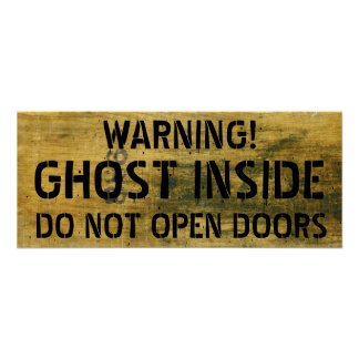 Warning, Vintage Halloween Stained Ghost Sign Poster