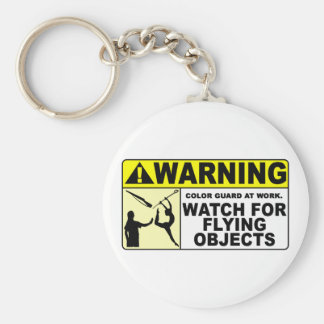 WARNING Watch For Flying Objects! Basic Round Button Key Ring