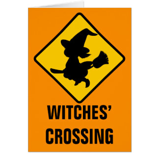 Warning Witches Flying on Broomsticks Ahead Card