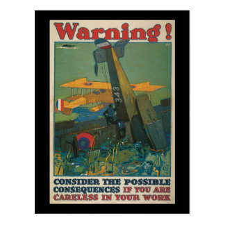 Warning World War II Postcard