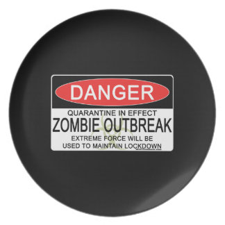 Warning - Zombie Outbreak Party Plates