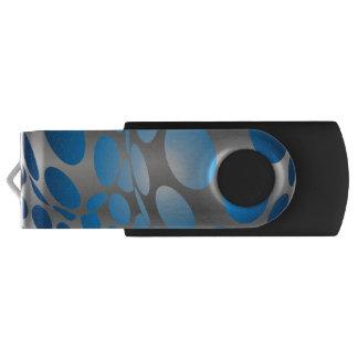 Warped Blue Dots on Silver USB Flash Drive