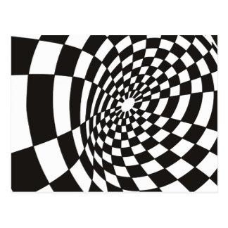 Warped Checkerboard in Black and White Postcard