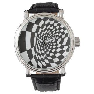 Warped Checkerboard in Black and White Watch