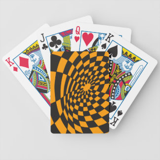 Warped Yellow and Black Checkerboard Bicycle Playing Cards