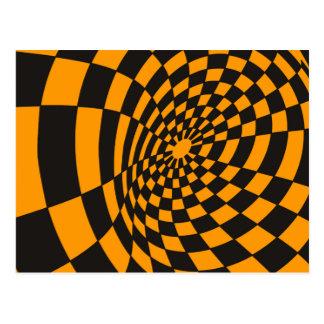 Warped Yellow and Black Checkerboard Postcard